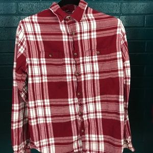 Aeropostale Size Small Red and White Plaid Flannel